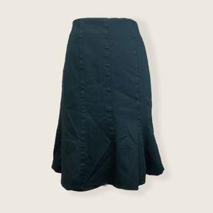 Laura Petites Black Checker Hem Flare Skirt Size 4